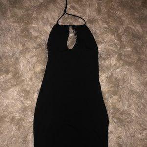 black halter top short dress